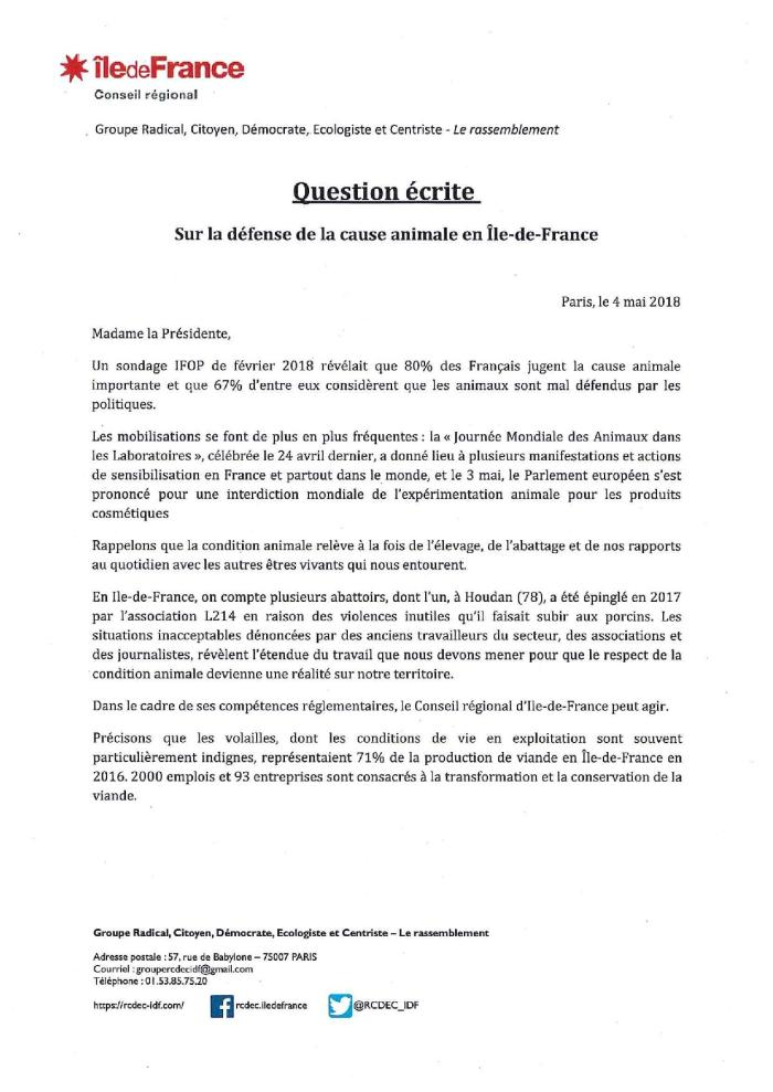 Question écrite d Eddie Aït à Valérie Pécresse - Respect et défense de la condition animale en Ile-de-France-page-001