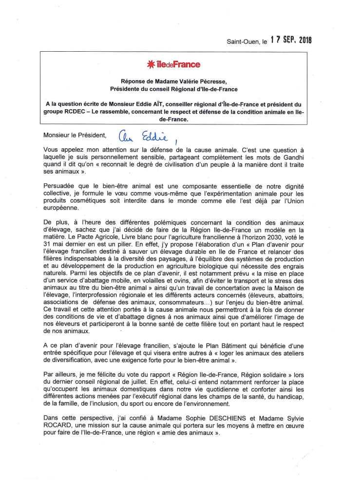 Réponse de Valérie Pécresse - Question écrite condition animale-1